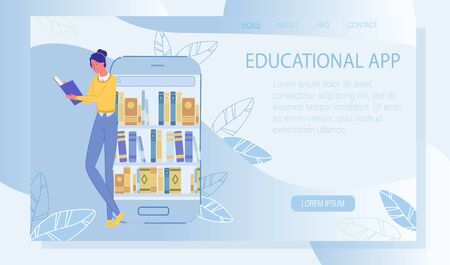 Online Course, Distance Education. Educational App. Access to Electronic Library Resource. Digital Technology for Increase Graduation Degree. Download EBook Service. Landing Page. Vector Illustration