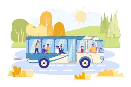 Convenient Ride Country Bus, Vector Illustration. People Travel by Public Transport between Cities. Bus Rides on Highway, Amid Beautiful Nature. Comfortable Travel by Bus. Vector Illustration.