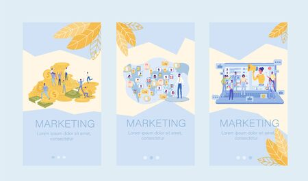 Marketing E-Commerce Literacy. Profitability Growth. Profitable Business Development. International Network Creation. Ads in Social Media. Mobile Onboard Screen Application Set. Vector Illustration