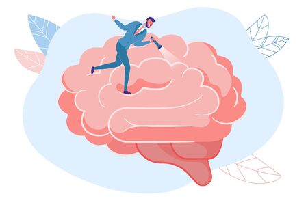 Psychotherapy Doctor Searching for Mind Problem, Mental Disorder Cause-and-Effect Relation. Psychologist with Flashlight Walking on Human Brain. Psychological Counseling. Vector Illustration