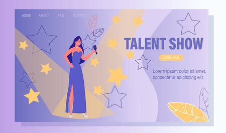 Talent Show for Vocal Singer. Television Program for Popular Artist. Young Woman in Elegant Dress with Microphone Sanding under Spotlight on Stage. Grant Performance. Landing Page. Vector Illustration