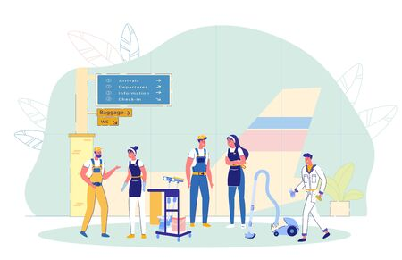 Airport Cleaning Company Employees in Uniform Chatting in between Work. Men and Women Characters with Cleaning Equipments and Housekeeping Devices in Air Terminal Interior. Flat Vector Illustration.