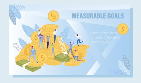 Measurable Goals for Successful Business Marketing Strategy and Development. Man and Woman on Gold Coin Money Stack. Company Income Growth and Revenue. Promotion Poster. Vector Illustration
