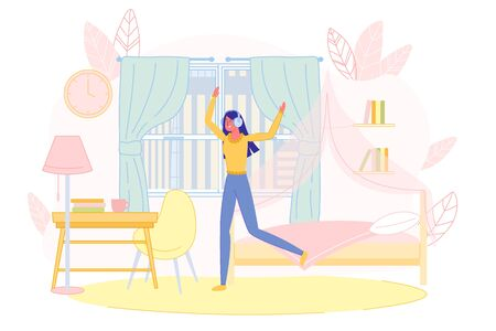 Young Woman Character Wearing Big Headphones Dancing in Room. Girl Listening to Music Enjoying Song. Relax and Rest. Recreation and Leisure. Happy Life at Home. Hobby and Interest. Vector Illustration