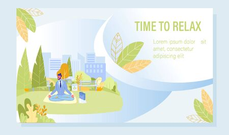 Mind Cleansing and Meditation Motivation Poster. Young Businessman Character Sitting in Lotus Position Doing Breathing Relaxing Exercise Outdoor in City Park. Mindfulness Practice. Vector Illustration