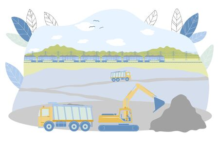 Opencast Mining Vector Illustration. Excavator Loading Raw Iron, Copper or Gold Ore into Dump Truck. Coal Extraction in Open Pit Quarry. Metallurgy Industry Equipment. Mineral Transportation