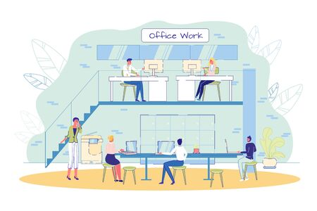Professional Office Staff at Work Sharing Coworking Space. Man and Woman People Sitting at Table, Working on Computer, Talking Mobile Phone. Shared Environment with Work Facility. Vector Illustration 写真素材