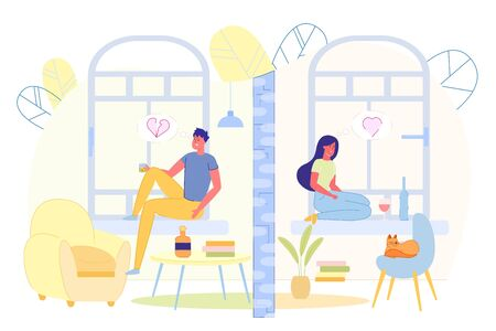 Flat Banner Sadness and Loneliness Young People. Lonely Guy Sits on Windowsill and Drinks Coffee. Girl Enjoys Relationship, Sits on Windowsill Sad and Drinks Wine. Vector Illustration.
