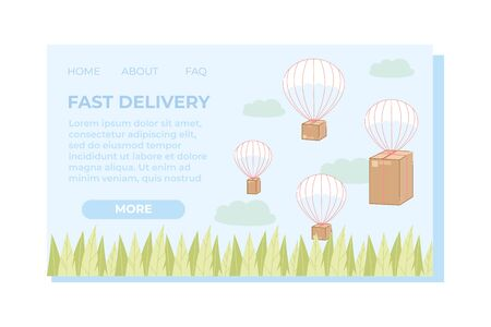 Fast Delivery Landing Page Flat Cartoon Vector Illustration. Different Sizes Boxes Flying in Sky on Parachutes Website Design. High Speed Service to Send Things to Customers by Air.