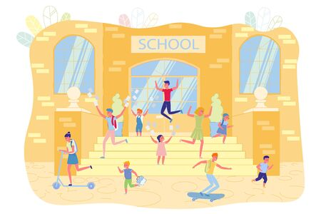 Happy Children Celebrating School Year End Flat Cartoon Vector Illustration. Kids Jumping on Steps, Girls and Boys Throwing Papers. Female Teenager Riding on Scooter. Guy on Skateboard.