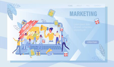 Online Service Offering Literate Digital Marketing and Targeting. Landing Page Design with Manager Attracting Customer and Buyer, Sales Promotion through Discount, Gift, Lottery. Vector Illustration 写真素材