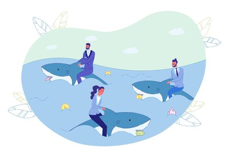 Businesspeople Swimming on Shark in Ocean Metaphor. Sea Animal Hold Money Coin, Timer Alarm Clock, Social Media Like Sign in Toothy Jaw. Risky Business Strategy. Win Competition. Vector Illustration 写真素材