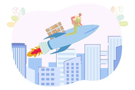Courier Flying on Rocket with Boxes Flat Cartoon Vector Illustration. Man Worker in Uniform Sitting with Box in Hands. Fast or Quick Delivery Service. Ordering Online and Shipping to Customer Door.