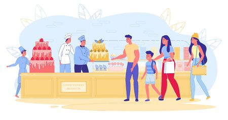 Family Business Selling Confectionery Products. Family Buys Big Cake from Home Patisserie. Husband and Wife in Tunics Serve Cake to Buyer. Guy Rejoices and Admires Sweets, Cartoon. 写真素材