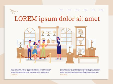 Excursion at Archaeological Museum. Kid Visiting Antique History Gallery Room. Group Guide Excursion Invitation. Children Education. Landing Page with Editable Information Text. Vector Illustration