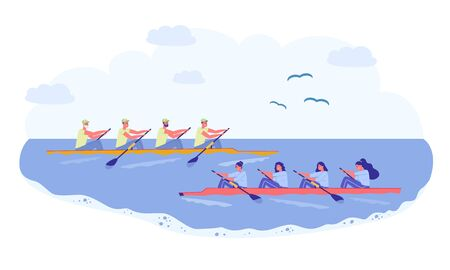 Rowing Sport Team, Competition in Natural Pond. Two Long Boat Sail Past each other, Team Men and Women. Athlete in Sportswear Rowing Oar, Apply Hand Strength. Bird Fly over Clean Water.