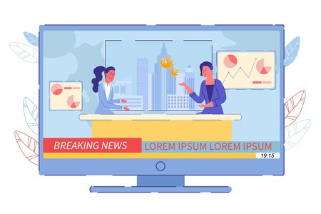 Breaking News and Interview Fire Broadcast. Two Woman Television Presenter or Anchorwoman with Interviewer Talking about Fire-Hazard Statistic, Alarm Newscast about Burning Skyscraper Illustration 写真素材