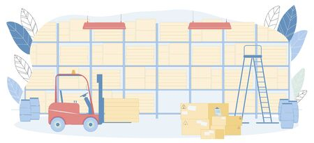 Warehouse Interior Vector illustration. Rack with Container Box on Shelves, Pallet Truck, Fragile Package Stack in Storehouse. Shipment Delivery, Logistics Business, Commercial Storage 写真素材