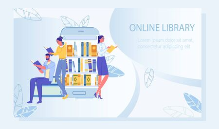 People Studying via E-Book Service. Online Library Application in Mobile Advertisement. Available Digital Literature for Education and Entertainment. Media Storage System. Vector Illustration