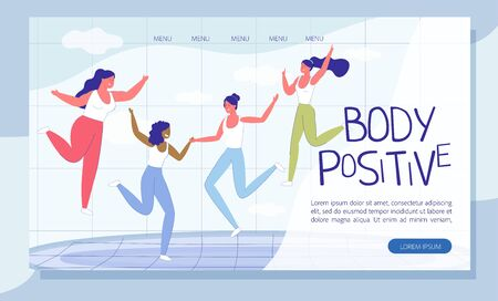 Diverse Woman Have Fun Doing Sport. Young Girl with Different Figure Measurement and Weight Jumping on Trampoline. Self Acceptance. Fitness Workout. Body Positive Landing Page. Vector Illustration