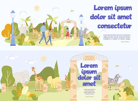 Excursion to Zoo Advertising Header Banner Set. Wild Animal and Tropical Bird behind Fence with Text in Gate Entrance. Happy Parent with Kid Walking on Territory Enjoy Excursion. Vector Illustration
