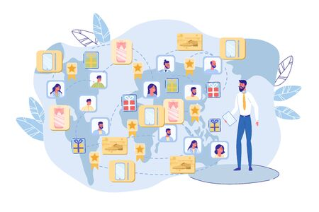 International Network Creation. Worldwide Business. Big Man Company Leader with Clipboard and People Social Media Avatar, Gift, Contextual Advertising Icon over World Map. Vector Illustration