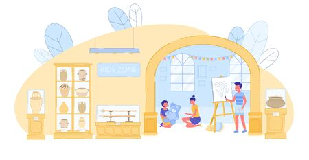 Boy and Girl Playing Toy, Painting on Canvas in Kid Zone at History Museum. Children Room. Recreation for Little Visitor during Excursion. Art Studio with Antique Vase and Utensil. Vector Illustration 写真素材