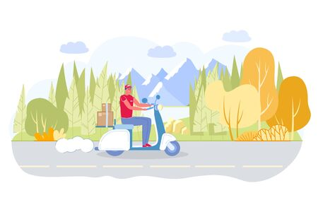 Courier Riding or Rushing on Road on Scooter with Trunk Full Boxes or Parcels Flat Cartoon Vector Illustration. Worker in Uniform Hurrying to Customers who Ordered Products. Nature Background.