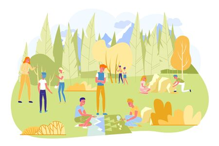 Children on Camping Trip with Geography Teacher in Forest Flat Cartoon Vector Illustration. Kids Learning how to Navigate by Compass and Maps. Walking in Nature. Outside or Outdoor Lesson.  イラスト・ベクター素材
