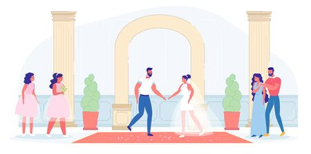 Traditional Bridal Ceremony at Wedding Palace Indoor. Classic Marriage Celebration Event. Bride, Groom, Parent and Bridesmaid People Character. New Family Creation and Romance. Vector Illustration 矢量图像