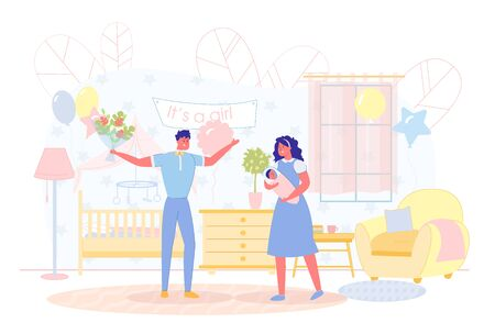 Husband Joyfully Meets his Wife from Hospital. Woman Holds Baby in her arms and Smiles, Welcome sign Hangs on Wall. Parents Rejoice at Appearance Child in their Home. Vector Illustration.