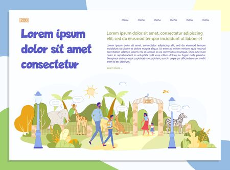 Open Zoo Presentation. Excursion Invitation Landing Page Design. Visitor at Green Park with Wild Animal, Exotic Bird. Natural Landscape. Parent, Kid Recreation. Information Text. Vector Illustration