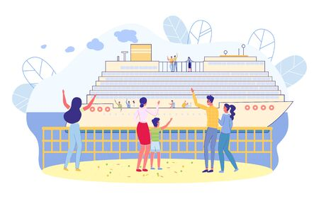 Cruise Ship Departs from Pier, People See off. People Stand on Embankment and Wave Goodbye to Relatives Leaving on Passenger Liner. VIP Sea Voyage on Liner. Cruise on Modern Ship, Slide.  イラスト・ベクター素材