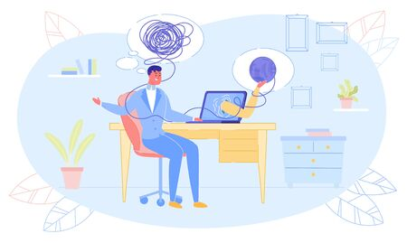 Tangled Businessman Sitting at Laptop in Office Need Psychological Counseling. Human Hand Stretching from Screen Offering Problem Solution. Online Psychologist Assistance. Vector Illustration  イラスト・ベクター素材