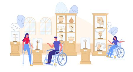 Ancient History Museum Excursion for Disable People. Handicapped Man Woman Sitting on Wheelchair or Walking on Crutches Visit Prehistoric Artifact Exhibition. Active Cultural Life. Vector Illustration