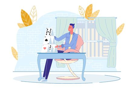 Young Man Building House from Playing Card at Home. Guy Sitting on Chair at Table in Living Room. Card-Castle Construction. Rest and Stress Relief. Funny Recreation. Vector Illustration