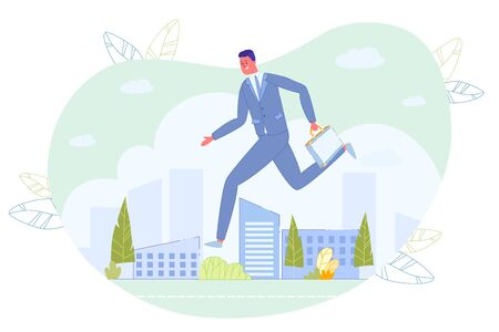 Businessman with Briefcase in Hand Rushing over Cityscape with Skyscraper Building. Late for Work or Job Interview. Man Hurry to Office. Running Worker Entrepreneur. Vector Illustration