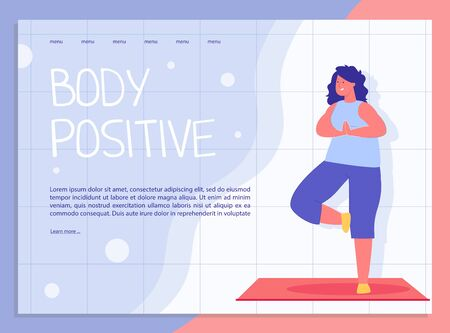 Attractive Overweight Woman Doing Yoga. Body Positive Lifestyle Landing Page. Fat Acceptance Movement. Plus Size Young Girl and No Fatphobia Motivation. Meditation and Harmony. Vector Illustration  イラスト・ベクター素材