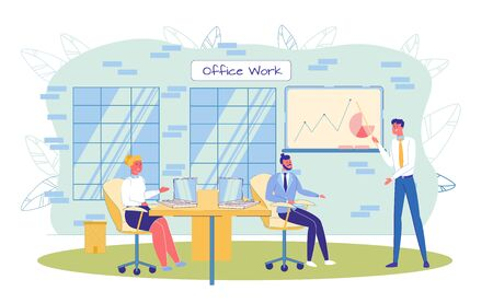 Businessman Presenter and Coworker Team at Office. Business Conference, Briefing or Meeting. Employee Presenting Positive Company Financial Result. Colleague Discussing Project. Vector Illustration