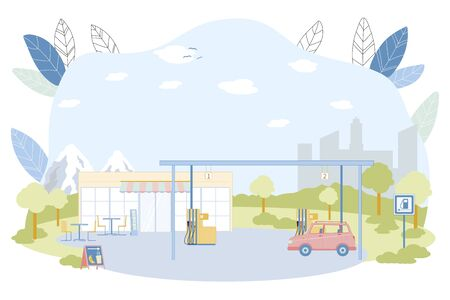 Gas Station Construction Vector Illustration. Car Refill Petrol or Diesel Fuel at Filling Station. Pump Gasoline into Automobile Vehicle Fuel Tank with Nozzle. Convenience Store with Cafe