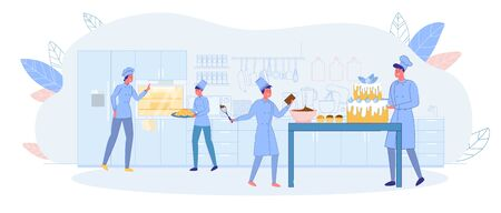 Family Confectionery, Cake and Pastry Production. Parents and Children Prepare Cake Pastry Shop. Girl Carries Croissants on Tray. Guy Preparing Chocolate Cream for Muffins. Father Decorates Cake.  イラスト・ベクター素材