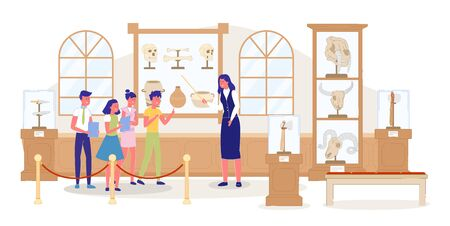 Kid Excursion at Public Archaeological Museum. Woman Guide Giving History Information. Children Group Listening Teacher. Showpiece Exhibition. Human Animal Skull, Ancient Dish. Vector Illustration  イラスト・ベクター素材