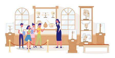 Kid Excursion at Public Archaeological Museum. Woman Guide Giving History Information. Children Group Listening Teacher. Showpiece Exhibition. Human Animal Skull, Ancient Dish. Vector Illustration Illusztráció