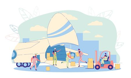 Air Business Freight and International Cargo Shipping. Cargo Plane Loading Scene with Working Airport Staff and Loader Car. Air Terminal Workers Characters perform Duties. Flat Vector Illustration.