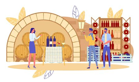 Wine Degustation Festival Event at Wine-Cellar. Woman Professional Expert Presenting New Brand Name Product Beverage Feature to Man Group. Alcoholic Drink Tasting. Vineyard. Vector Illustration  イラスト・ベクター素材