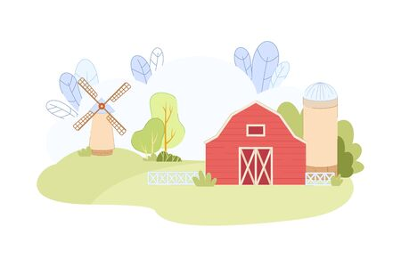 Red Wooden Barn with Windmill on Green Field Vector Illustration in Flat Syle. Wind Mill on Hill. Countryside Landscape Scene. Eco Product Organic Wheat Crop Farming. Agriculture Business
