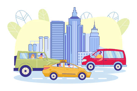 On Road against Background City, Cars and Taxis. Urban Residents Move around City in their own Cars or by Taxi. City Tour, Passengers and Drivers in Good Mood. Vector Illustration.