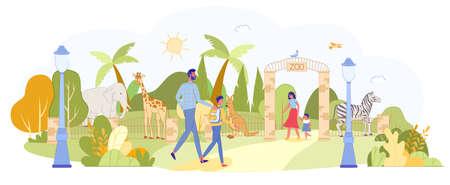 Parent with Children Visiting Zoo with Wild Animal and Exotic Bird. Entrance Gate, Green Park Inhabitant. Family Visitor on Territory. Elephant, Zebra, Giraffe, Parrot, Kangaroo. Vector Illustration