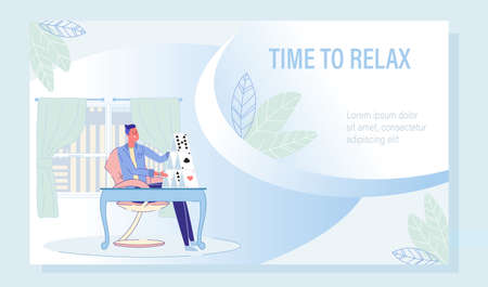 Mind Rest and Relax with Playing Card Motivation Poster. Businessman Building Stable Card-Castle on Table. Patience Training. Static Game for People Recreation and Work Break. Vector Illustration