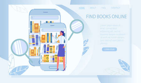 Find Book Online in Digital Library Landing Page. Young Woman Standing Front of Huge Smartphone and Mobile Tablet with Book on Shelf. Resource for Searching Media Material. Vector Illustration